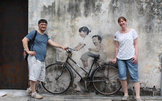 Kids on bicycle street art georgetown penang
