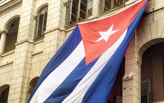 Cuba's flag flies in the courtyard of the Museum of the revolution. This building was once the presidential palace.