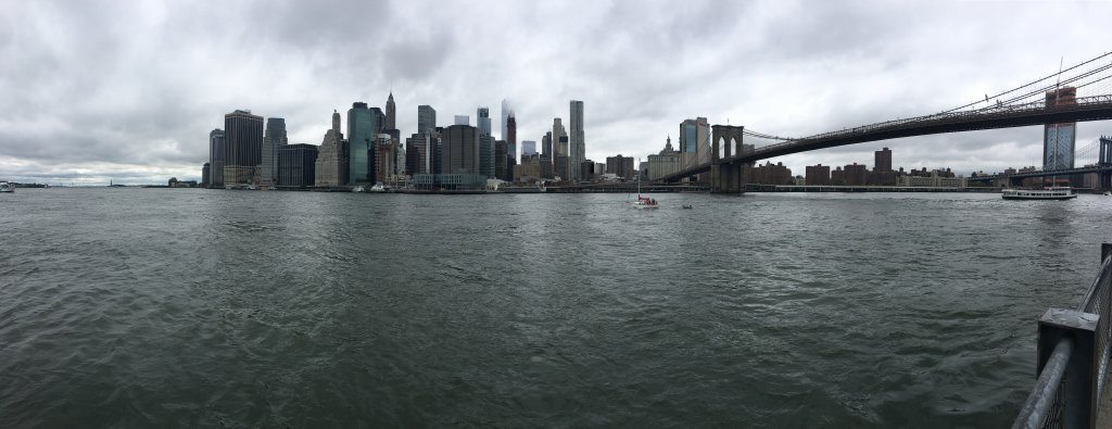 The view of New York City and Brooklyn Bridge from DUMBO.