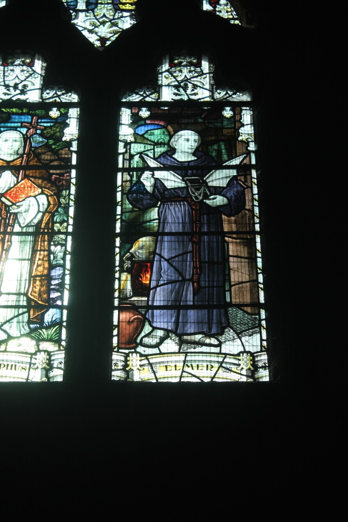 Stained glass window of Eilmer, the flying monk.