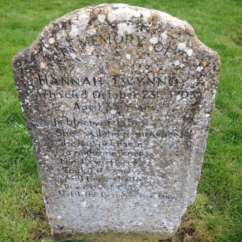 Hannah Twynnoy's gravestone