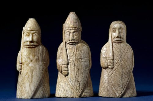 The Lewis Chessmen, berserkers. Late 12th century, Uig, Lewis, Scotland. Walrus ivory. Copyright of The Trustees of the British Museum.