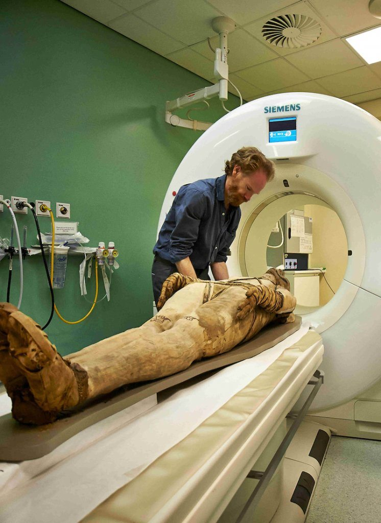 A mummy undergoing a CT scan at the Royal Brompton Hospital