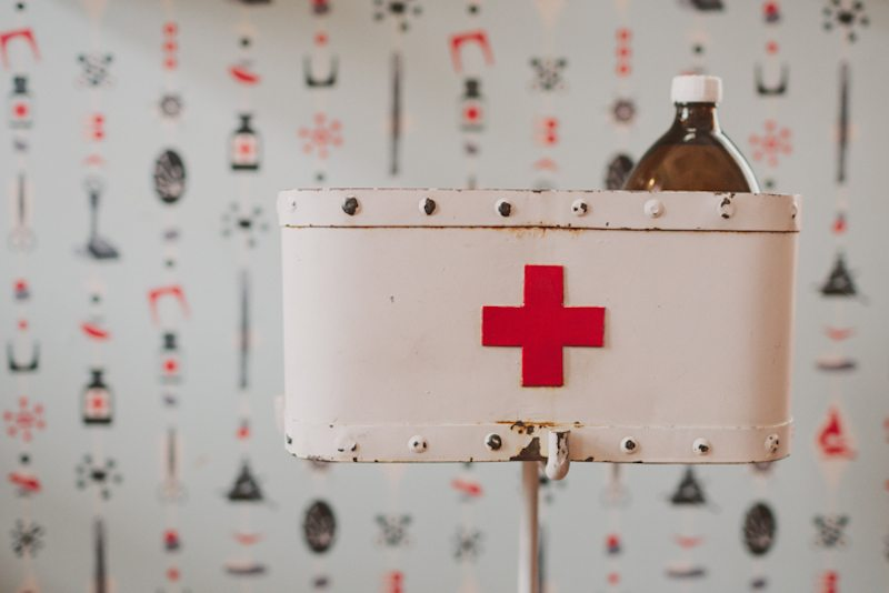 First aid boxes are fashioned as ice buckets at Pharmacia