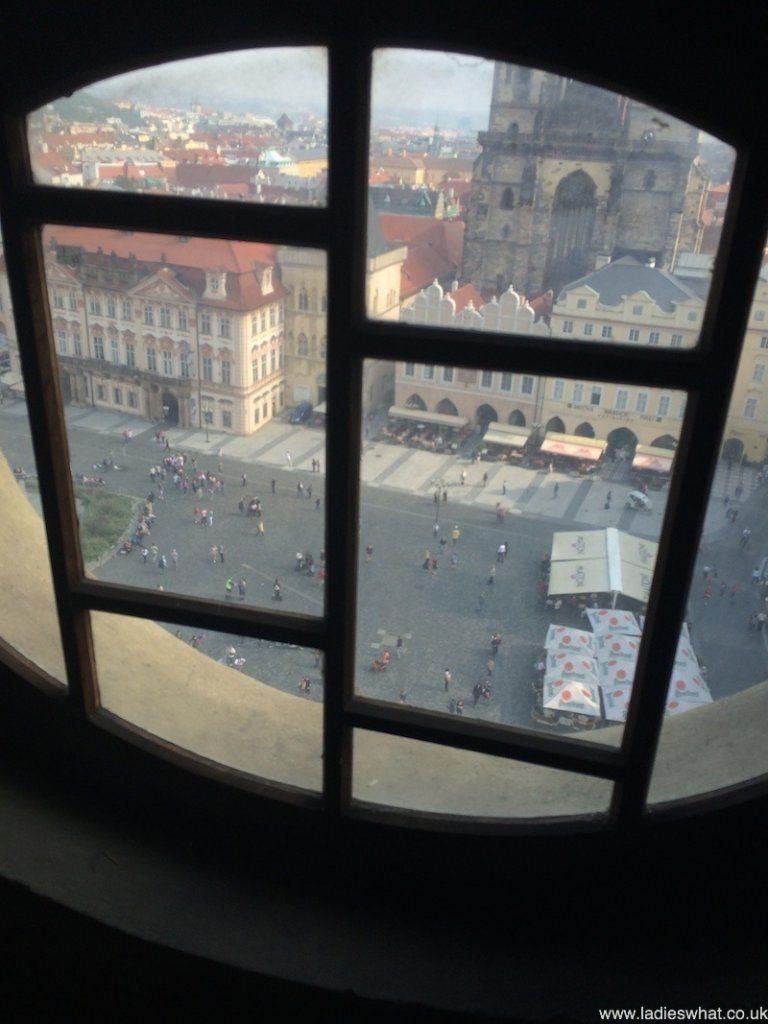 Half way up the Prague clock tower