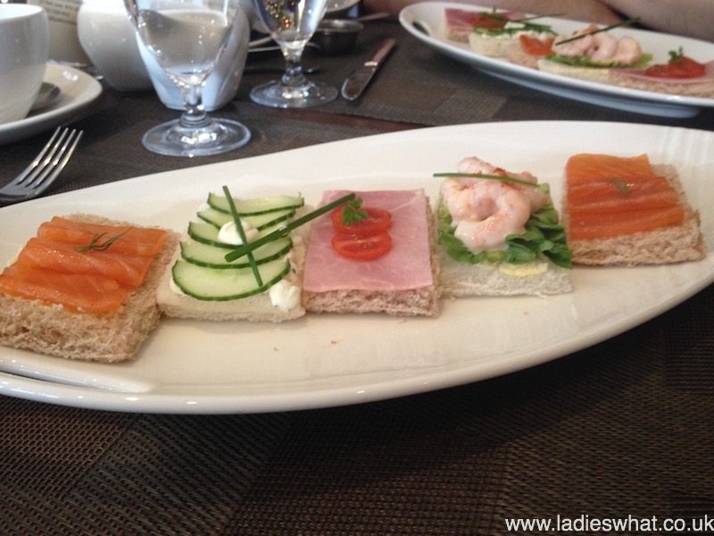 Open sandwiches at London Hilton on Park Lane.