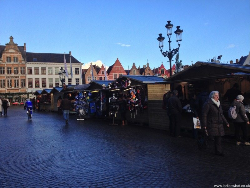 The Christmas market stalls in Markt, Bruges.