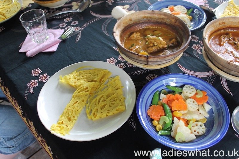 Meal cooked at Tropical Spice Garden cooking school.