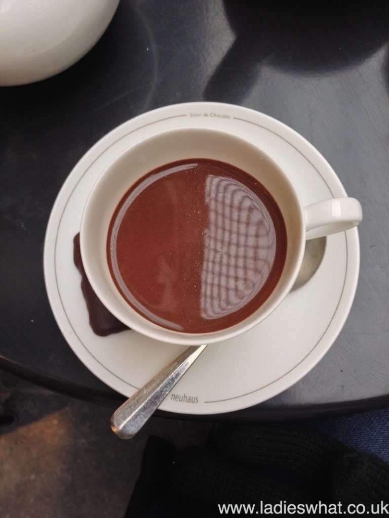 A cup of Neuhaus hot chocolate in Belgium.