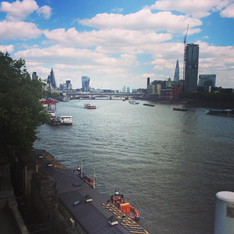 A view of the Thames from view from Waterloo Bridge - the Ladies Bridge.