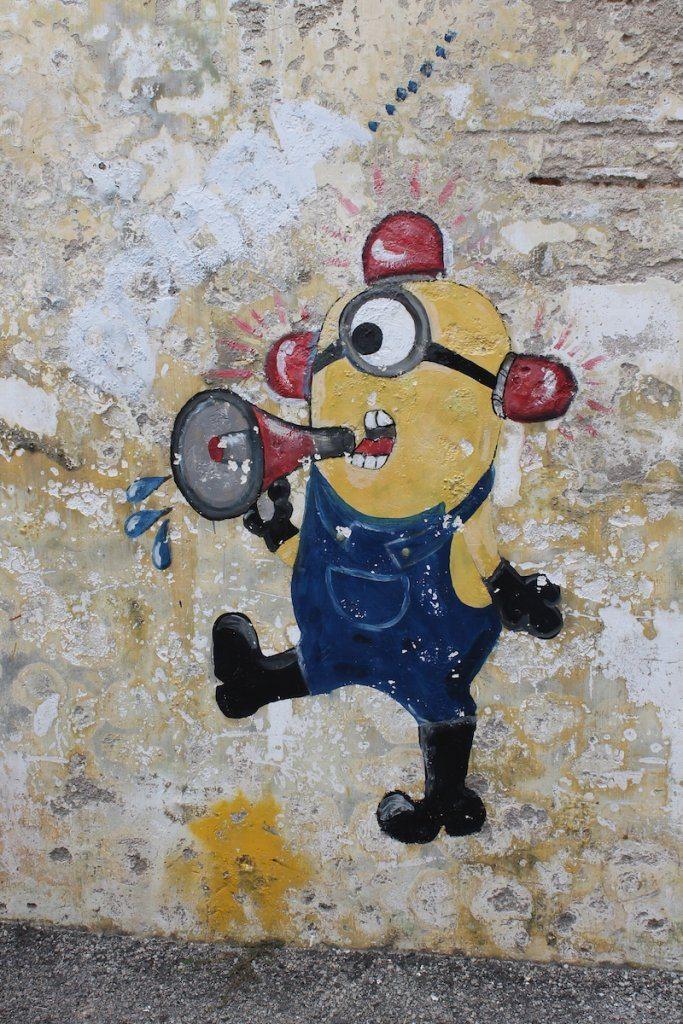 minion street art, penang