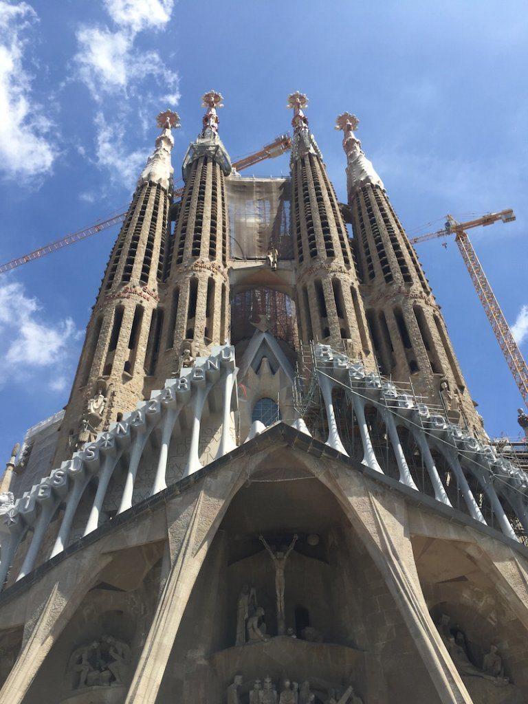 Looking up at the Sagrada Familia.