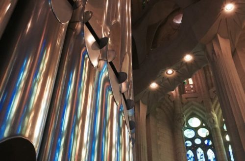 Light from the stained glass windows bounced off the Sagrada Famila's organ.
