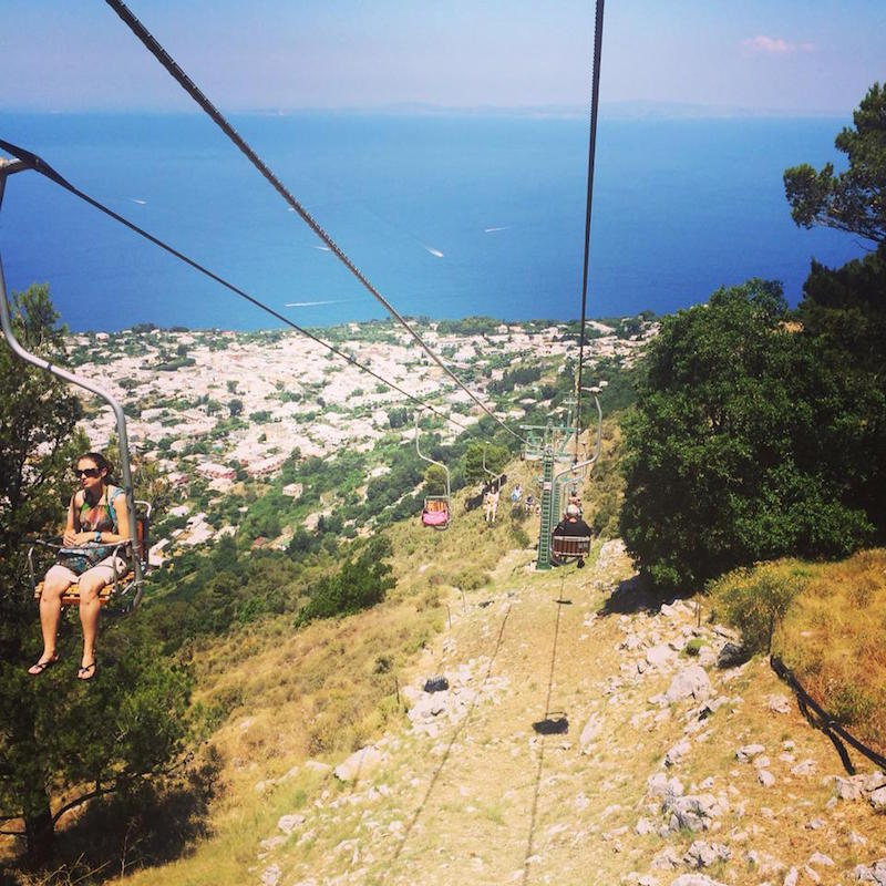 Taking a ride on the Anacapri chairlift!