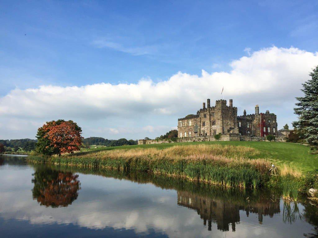 Ripley castle Harrogate from across the lake