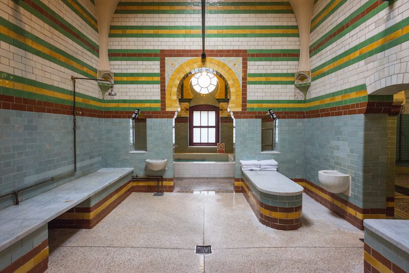 Built in the traditional style, the baths are decorated with tiles and moorish patterns.
