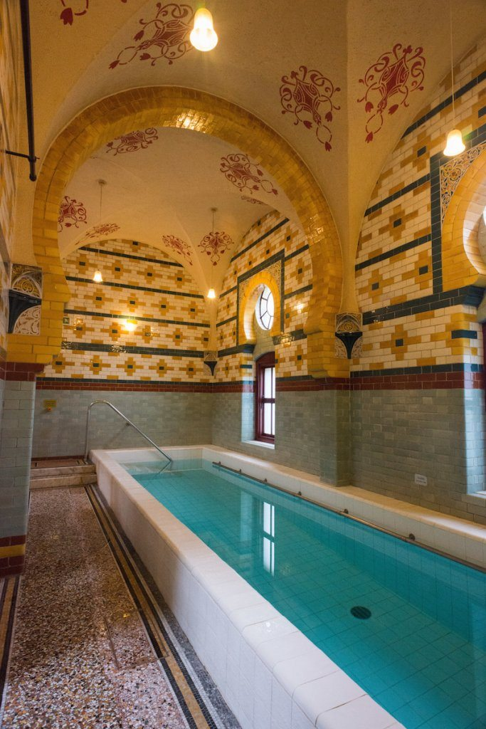 Cold plunge pool at the Victorian Turkish bath, Harrogate .