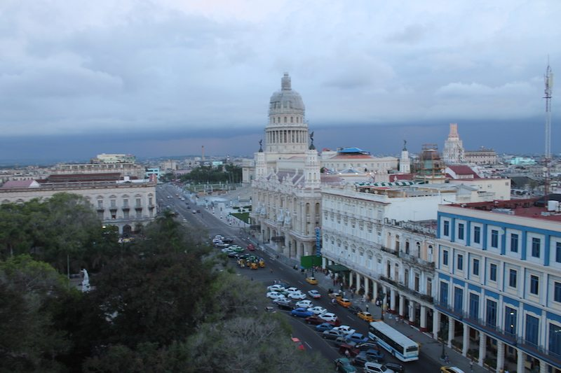 Looking up Passeo de Marti at the National Capitol Building Havana.