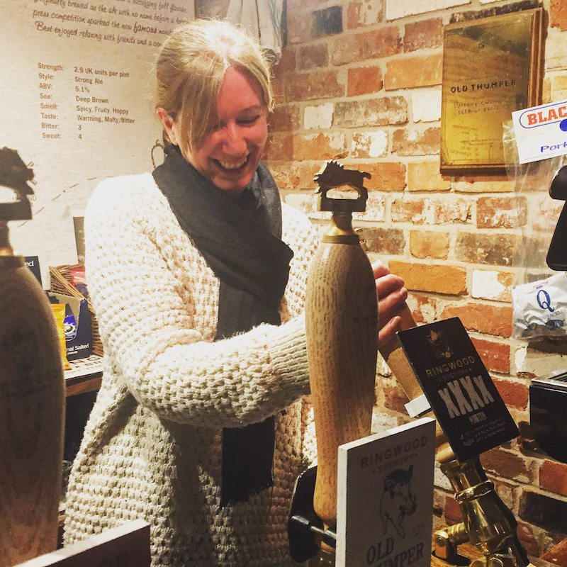 Keri attempts to pull a pint!