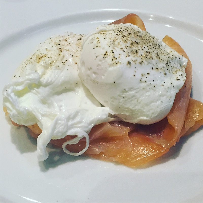 Locally sourced smoked salmon and poached eggs for breakfast.