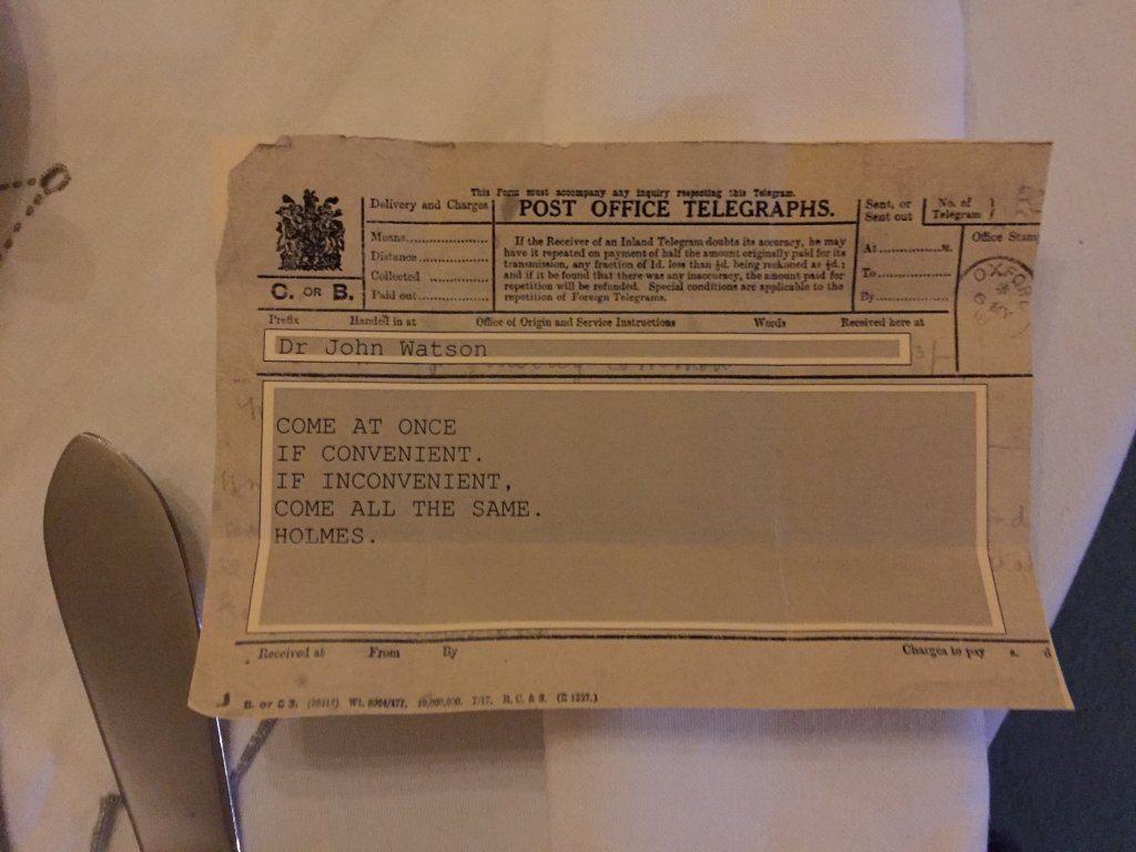 The actual telegram from Sherlock!