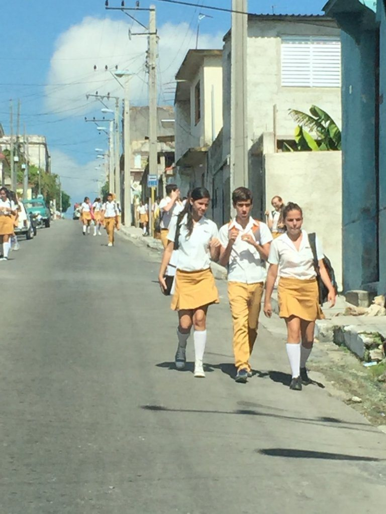 Heading home from school in Matanzas.