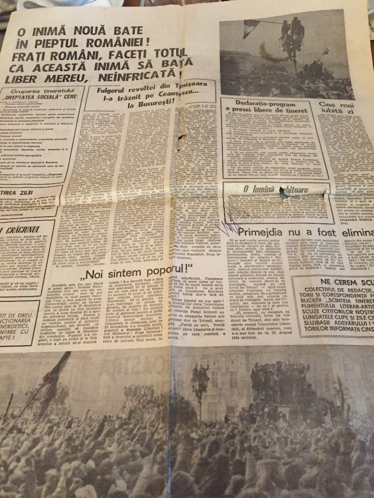 A copy of a newspaper from the day of the Romanian revolution.