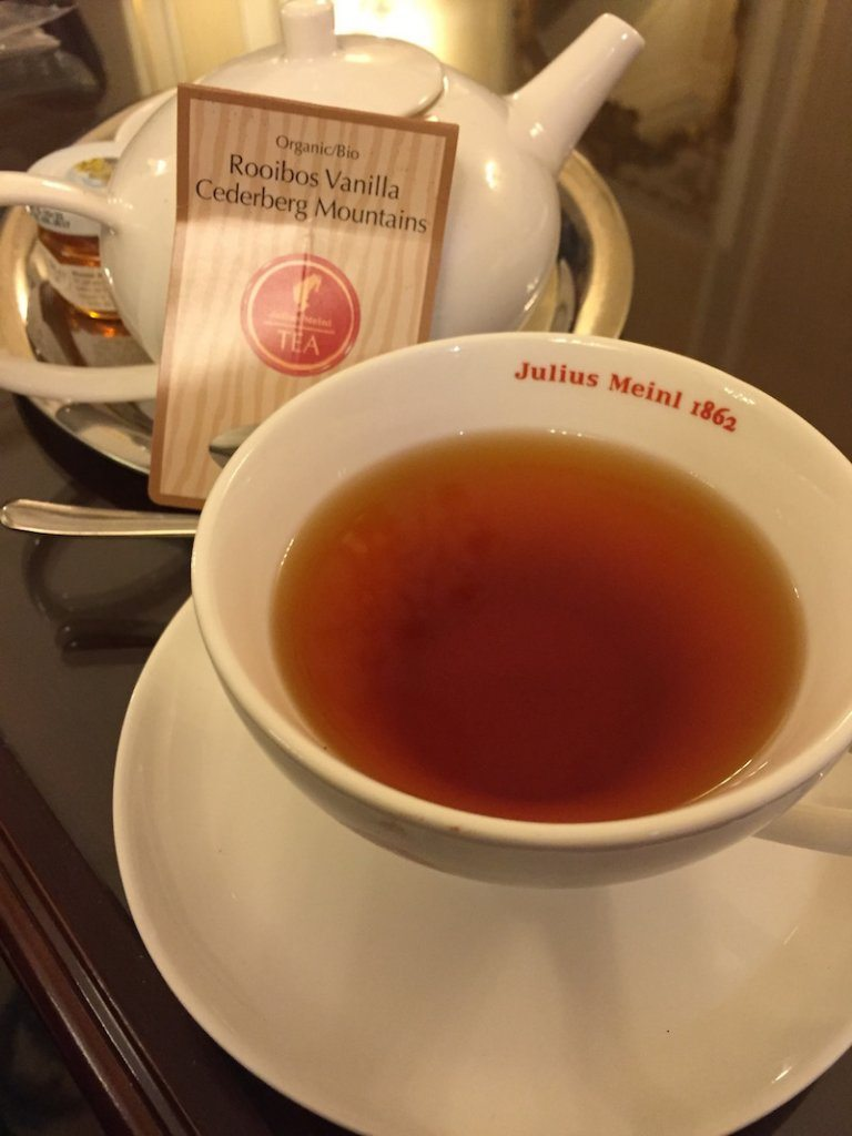 Vanilla tea in Bucharest.