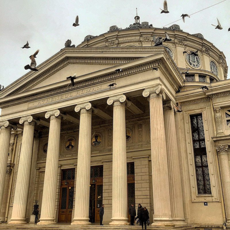 The Romanian Athaeneum epitomises the time when Bucharest was known for its beauty and often called Little Paris.