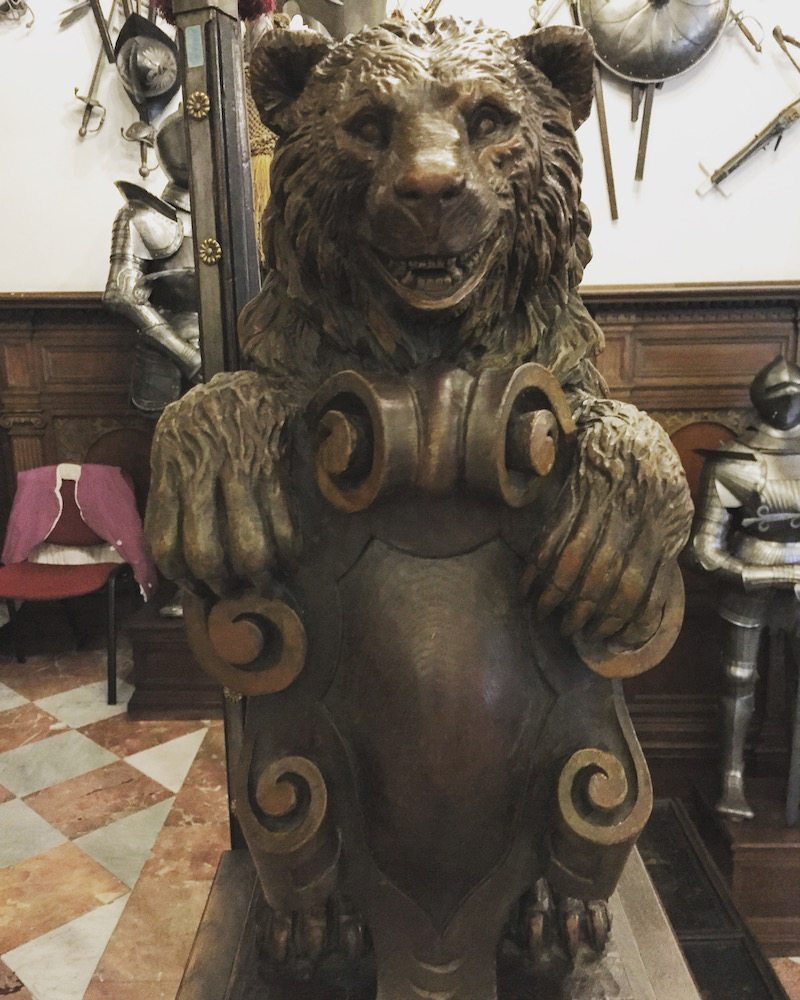 Inside Peles Castle every room is unique, but all have amazingly detailed features and opulent furniture. I adored this wooden bear that was part of a stair case in the War Room. I presume he was supposed to be scary and a show of power, but I personally think he looks like he's smiling!