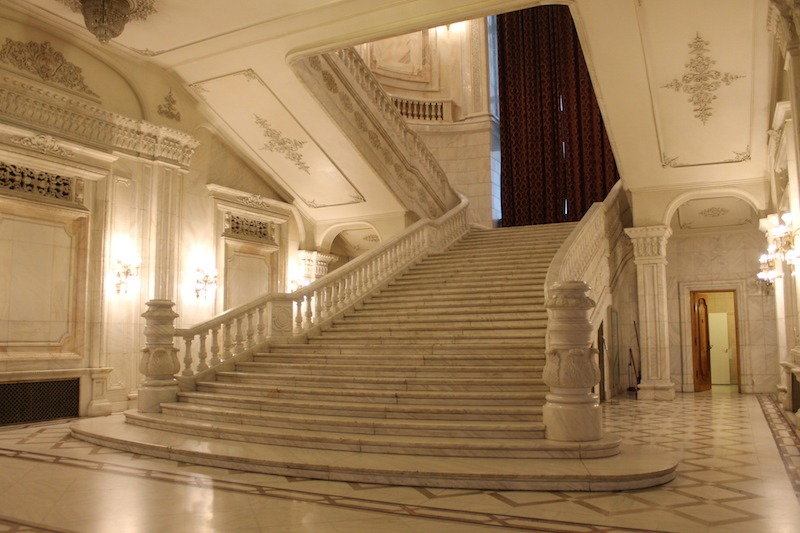 Just one example of the decadent design inside the Palace of the Parliament.