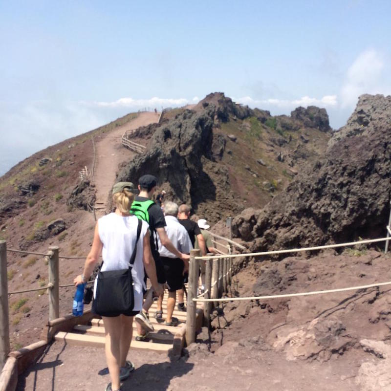 Hiking to the summit of Mt Vesuvius.
