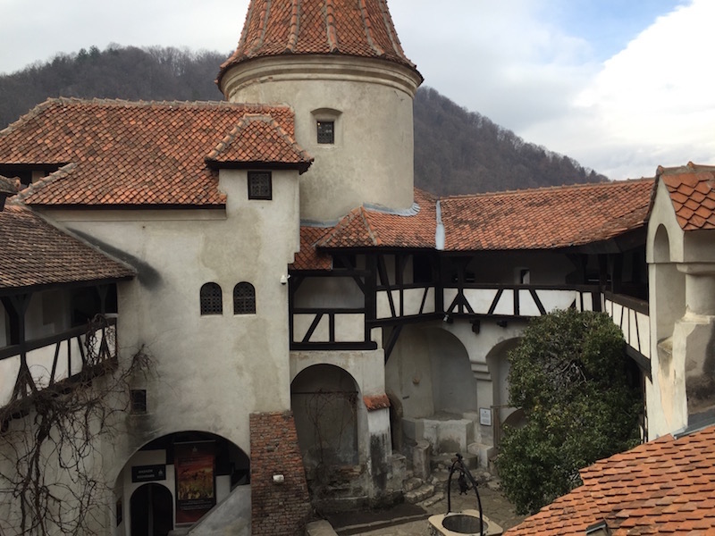 The quirky courtyard of Bran Castle.