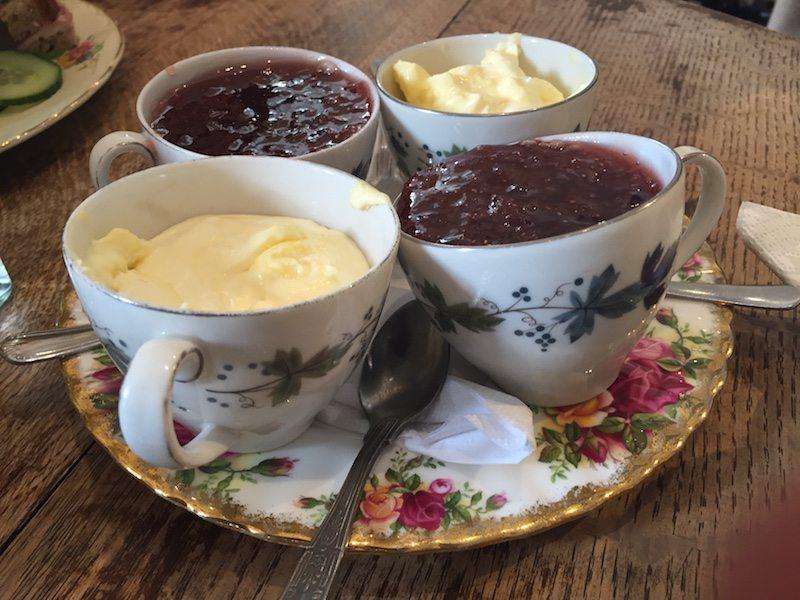 cream and jam in cute little tea cups!