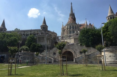 Visit Budapest: Looking up at the Fisherman's Bastion, found in the Var district on the Buda side of the Danube.