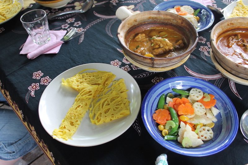 Roti jala, with a chicken curry and stir fried veg.