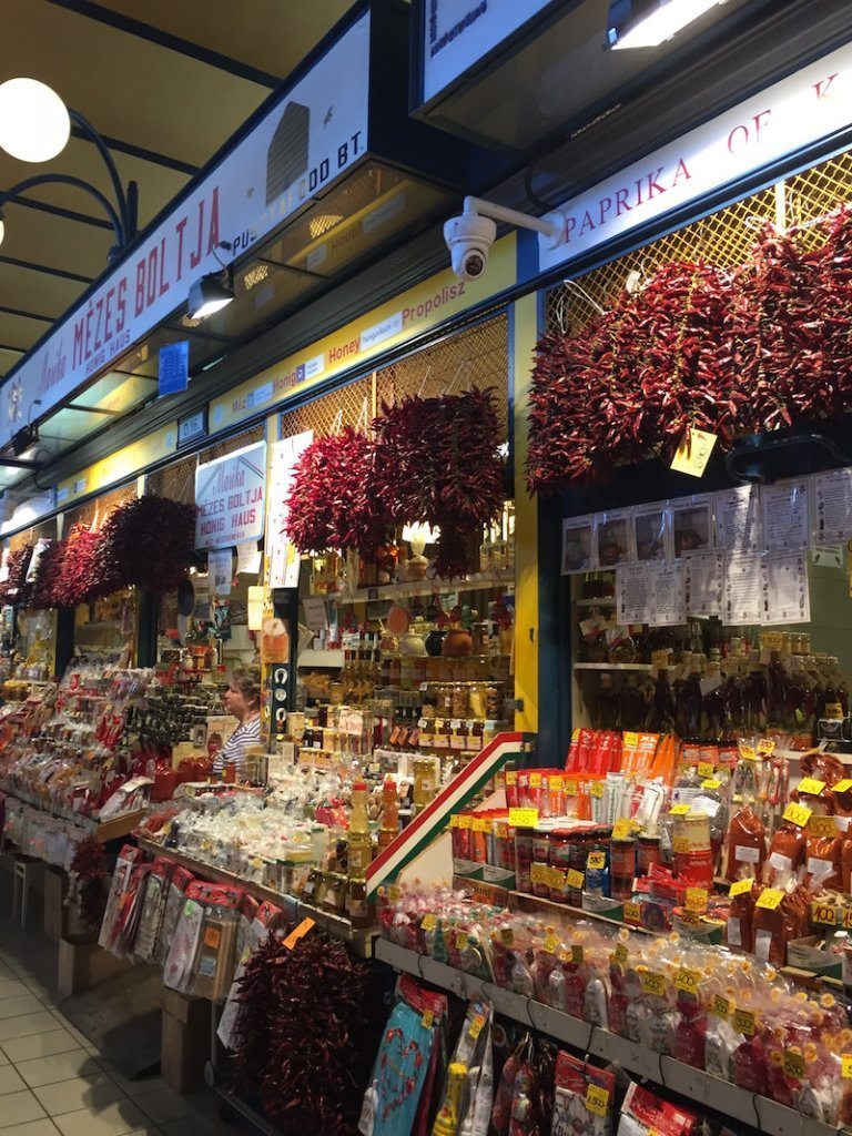 Stalls selling masses of paprika in Budapest.