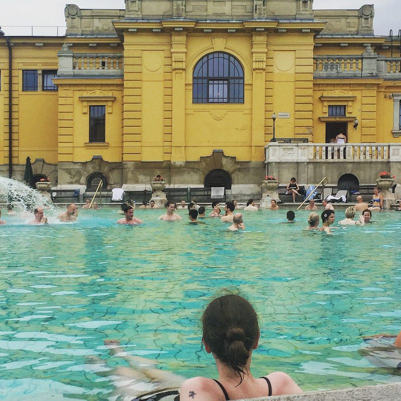 Outside at Széchenyi Baths.