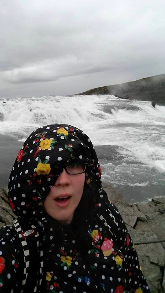 Being drenched at Gulfoss in Iceland