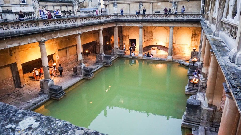 View of the Great Bath from the terrace. ROman Baths, Bath