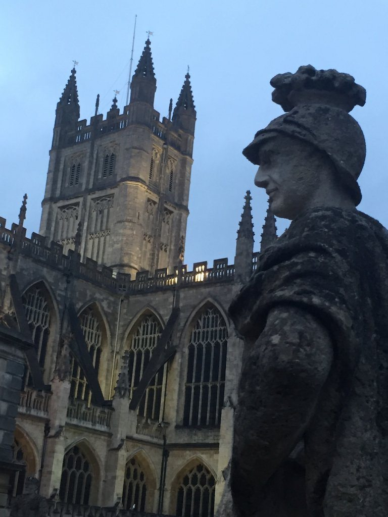 Roman emporer Vespian watches over Bath Cathedral.