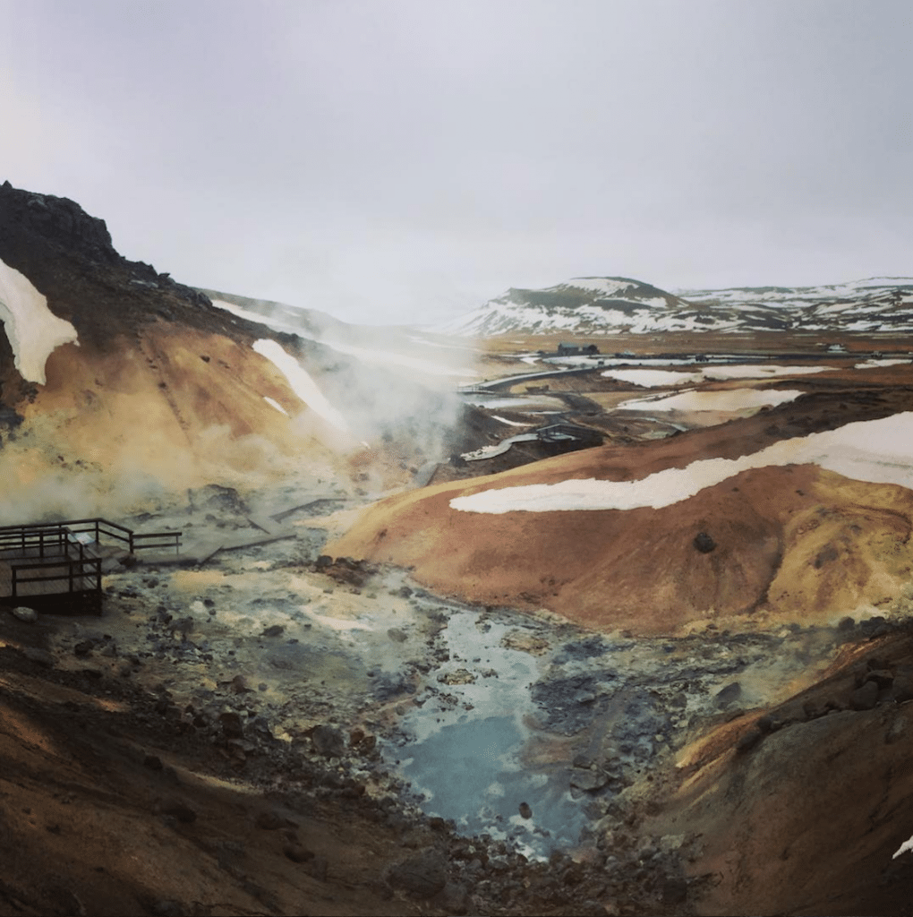 Exploring the geothermal field Iceland.