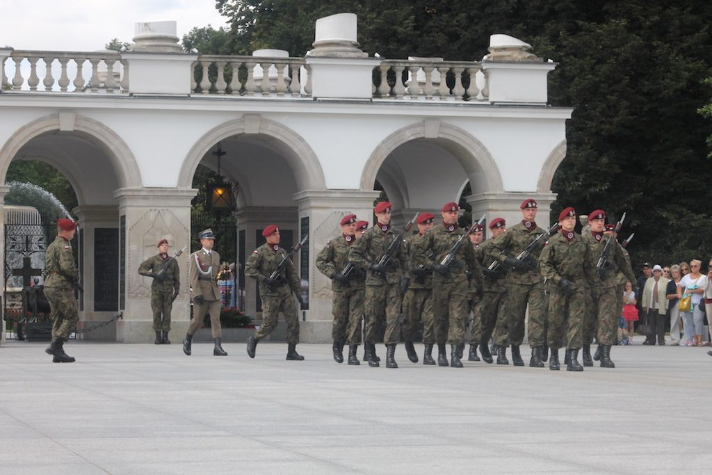 During the ceremonial changing of the guard at the tomb of the unknown soldier warsaw