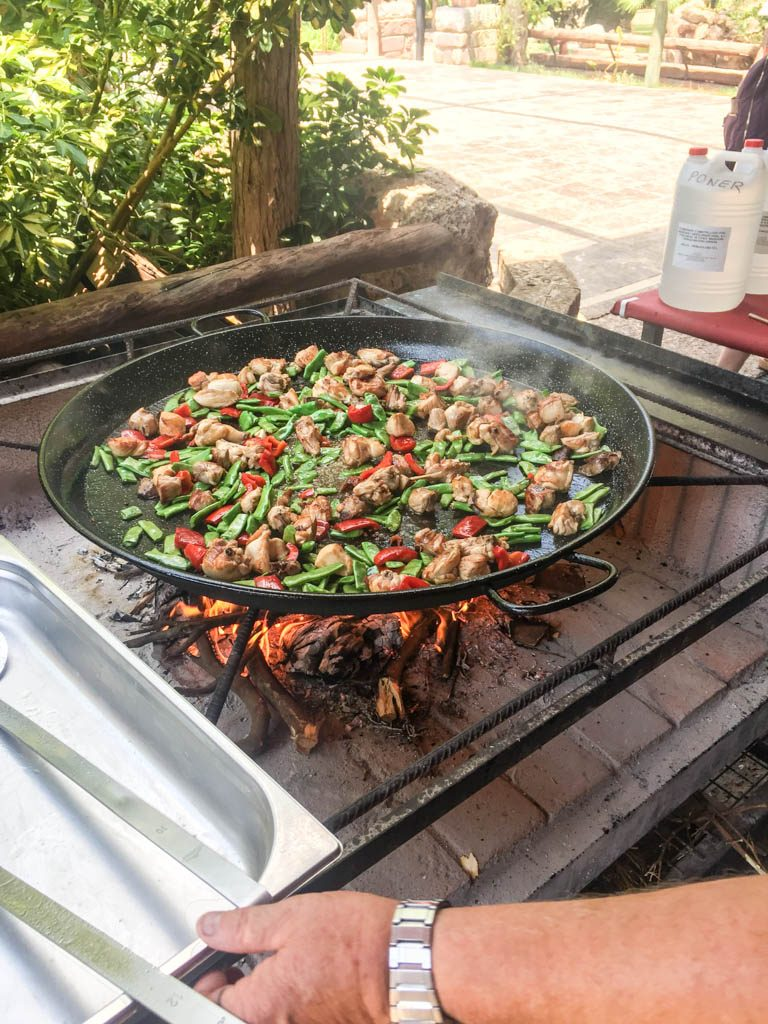 Preparing traditional paella