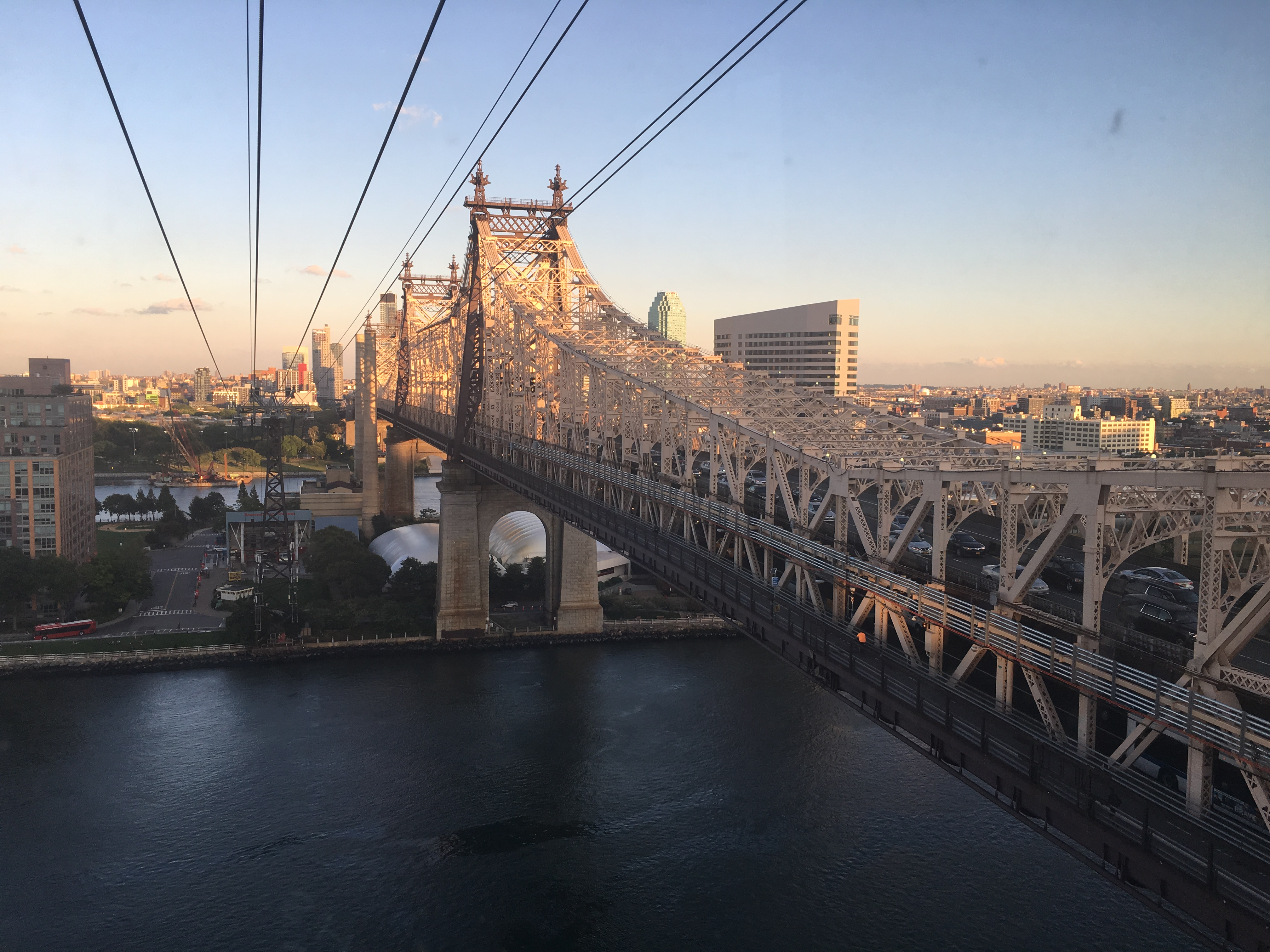 The impressive Queensborough Bridge stretching over the River.