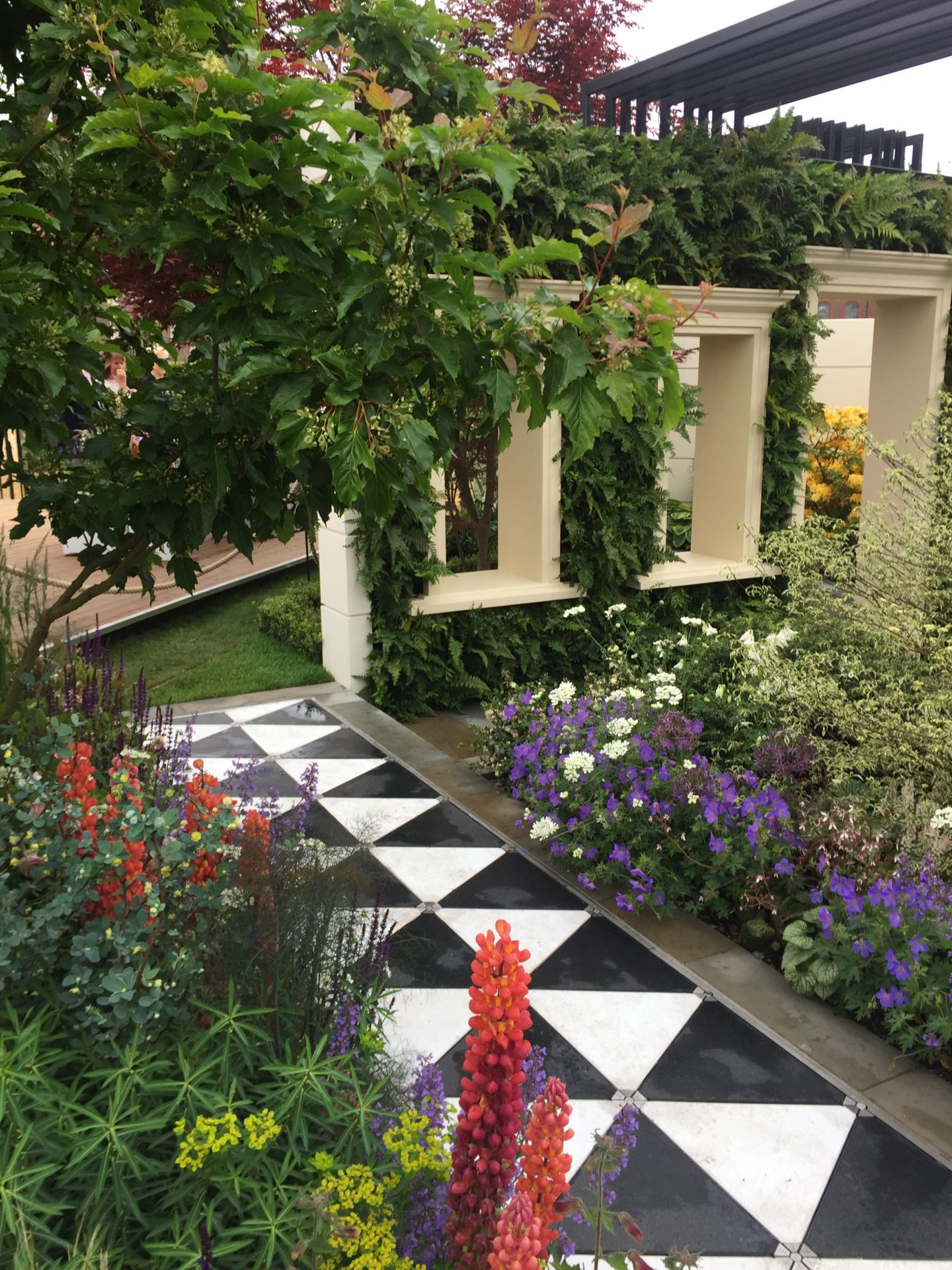 A tiled path in one of the show gardens.