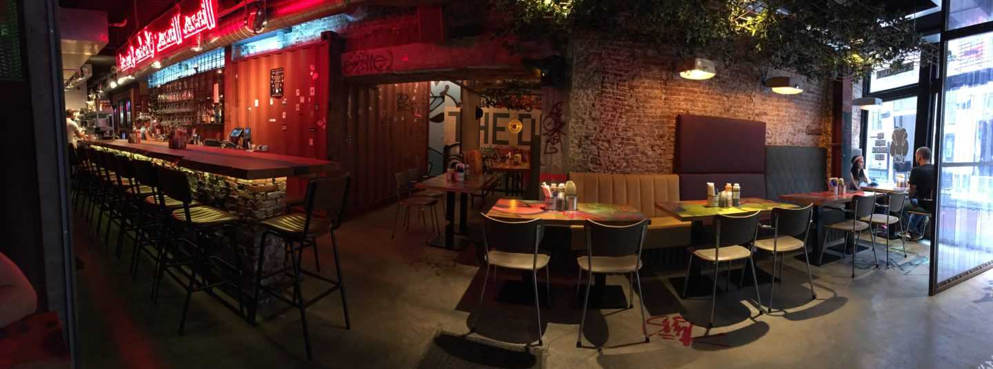 A panoramic image of the Dirty Chicken Club restaurant