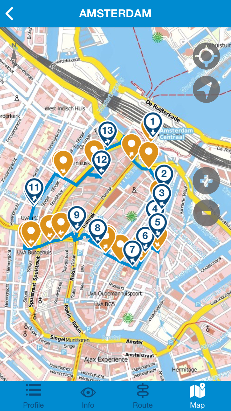 The Marco Polo 'Amsterdam for Foodies' tour map