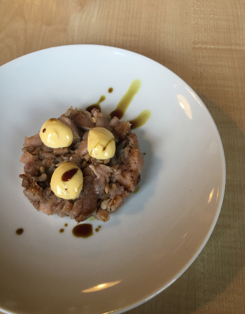 Polish pickled herring tartare at Baccaro Studio, Lodz